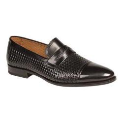Men's Mezlan Moya Penny Loafer Black Embossed/Burnished Calfskin
