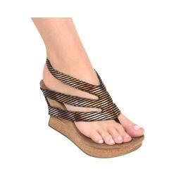 Women's MODZORI Drusa Thong Sandal Metallic Striped Print/Crunch Black