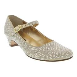 Girls' Nina Zelia Mary Jane Gold Satin/Studs