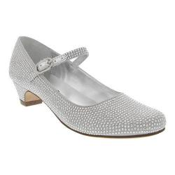 Girls' Nina Zelia Mary Jane Silver Satin/Studs