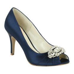Women's Pink Paradox London Tender Peep-Toe Pump Navy Satin