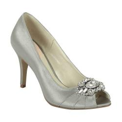Women's Pink Paradox London Tender Peep-Toe Pump Silver Satin