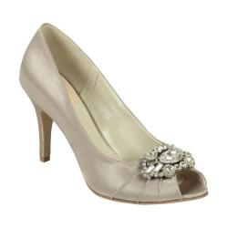 Women's Pink Paradox London Tender Peep-Toe Pump Taupe Satin