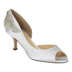 Women's Pink Paradox London Finery Peep-Toe Pump Ivory Satin