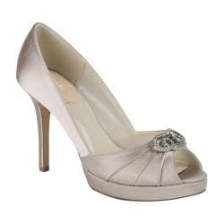 Women's Pink Paradox London Lavish Peep-Toe Pump Taupe Satin