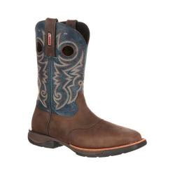 Men's Rocky 11in LT Western Steel Toe Saddle Boot RKW0141 Brown/Blue Leather