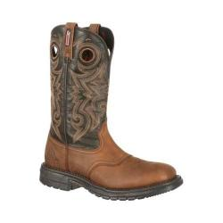 Men's Rocky 12in Original Ride Western Saddle Boot RKW0144 Light Brown/Chocolate Leather