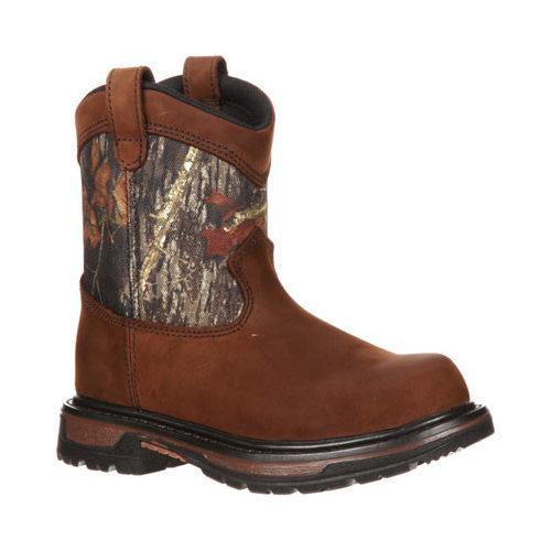 Boys' Rocky 8in Ride Wellington 3633 Dark Brown Leather/Mossy Oak Break Up Nylon