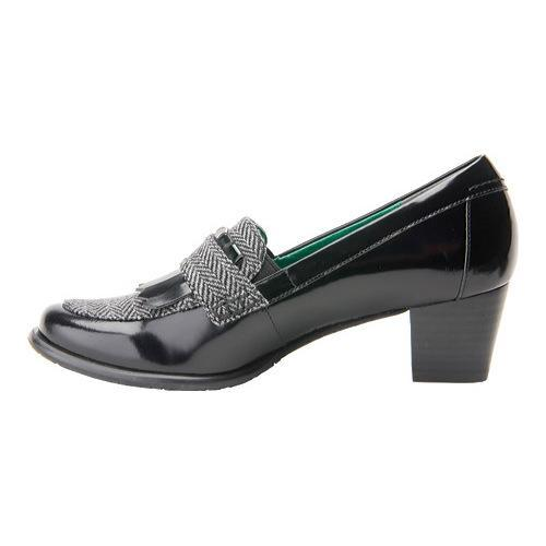 ... Women's Ros Hommerson Amy Black Leather/Grey Herringbone ...