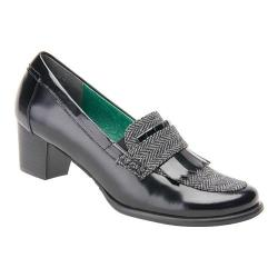 Women's Ros Hommerson Amy Black Leather/Grey Herringbone