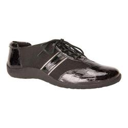 Women's Ros Hommerson Nancy Lace-Up Black Croco Patent/Pewter Piping