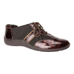 Women's Ros Hommerson Nancy Lace-Up Brown Croco Patent/Bronze Piping