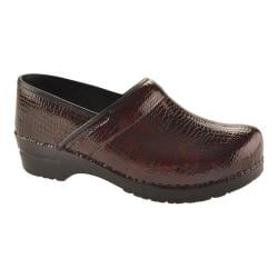 Women's Sanita Clogs Professional Croco Bordeaux