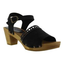 Women's Sanita Clogs Wood Fryd Square Flex Sandal Black