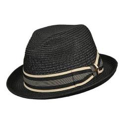 Men's Scala MS324 Vent Crown Braided Fedora Black