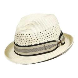 Men's Scala MS324 Vent Crown Braided Fedora Ivory