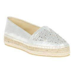 Women's Soft Style Hula Espadrille White Sparkle Shine Fabric