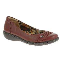 Women's Soft Style Jordyn Ballet Flat Dark Red Tumbled Leather