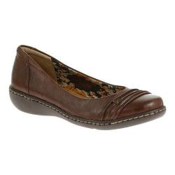 Women's Soft Style Jordyn Ballet Flat Mid Brown Tumbled Leather