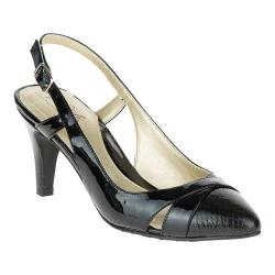 Women's Soft Style Rielle Slingback Black Polyurethane Patent
