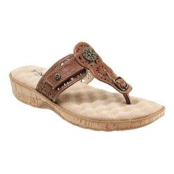 Women's SoftWalk Beaumont Laser Thong Sandal Luggage Veg Calf Leather