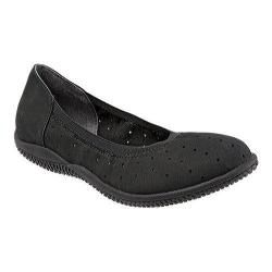 Women's SoftWalk Hampshire Ballerina Flat Black Nubuck Leather