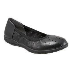 Women's SoftWalk Hampshire Ballerina Flat Black Veg Tumbled Leather