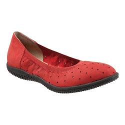 Women's SoftWalk Hampshire Ballerina Flat Red Nubuck Leather