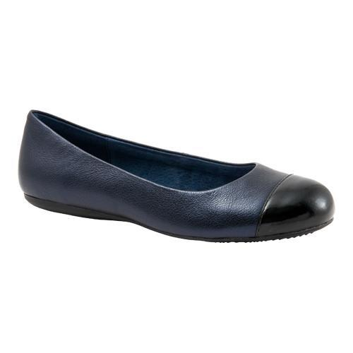 550a5dc136ac Shop Women s SoftWalk Napa Flat Dark Blue Pearlized Leather Black Patent -  Free Shipping Today - Overstock.com - 11797076