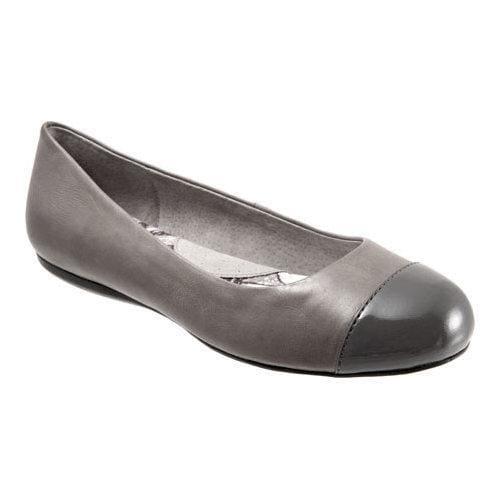 Women's SoftWalk Napa Flat Grey/Dark Grey Soft Dull Leather/