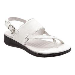 Women's SoftWalk Teller Toe Loop Sandal White Soft Nappa Leather