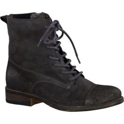 Women's Tamaris Adriana Lace Up Ankle Boot Graphite/Metal Velour Leather