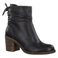 Women's Tamaris Jacy Laced Back Ankle Boot Black Leather