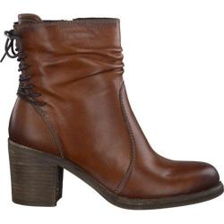 Women's Tamaris Jacy Laced Back Ankle Boot Cognac Leather