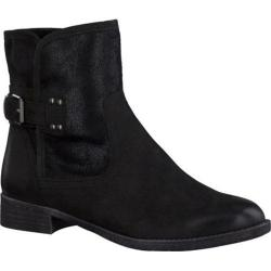 Women's Tamaris Phebus Ankle Boot Black Leather/Black Textile