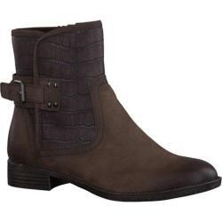 Women's Tamaris Phebus Ankle Boot Mocca Leather/Croco Textile