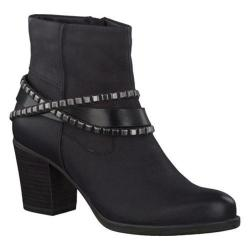 Women's Tamaris Tora Studded Ankle Boot Black Leather/Synthetic