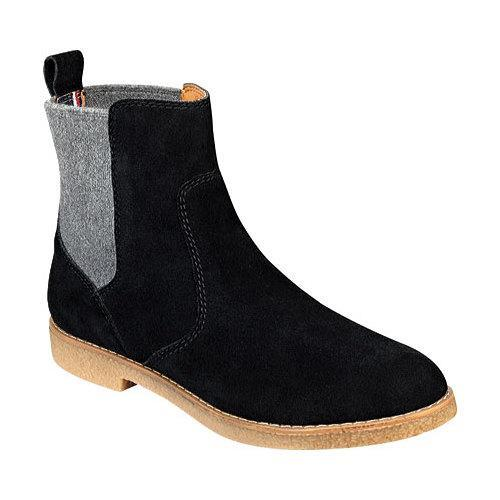 women 39 s tommy hilfiger zita chelsea boot black grey rich suede wool. Black Bedroom Furniture Sets. Home Design Ideas