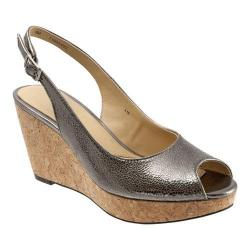 Women's Trotters Allie Pewter Irridescent Snake Embossed Leather
