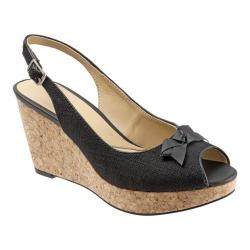 Women's Trotters Allie Black Linen/Nappa