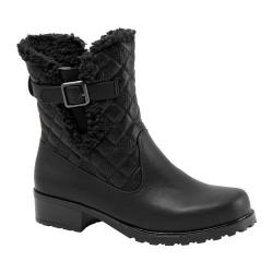 Women's Trotters Blast III Boot Black Waxy Faux Leather/Plain Quilted