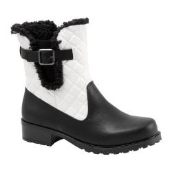 Women's Trotters Blast III Boot Black/White Waxy Faux Leather/Plain Quilted