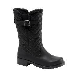 Women's Trotters Blizzard III Boot Black Waxy Faux Leather/Plain Quilted