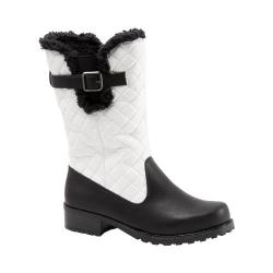 Women's Trotters Blizzard III Boot Black/White Waxy Faux Leather/Plain Quilted