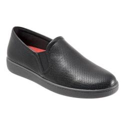 Women's Trotters Americana Slip On Black Soft Perfed Leather