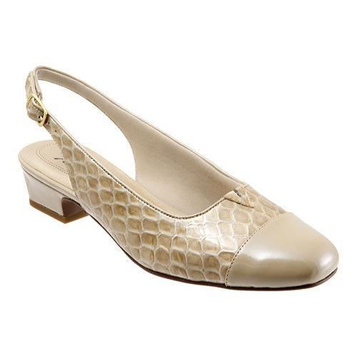 Womens Trotters Dea Pumps Taupe Patent Croco Leather
