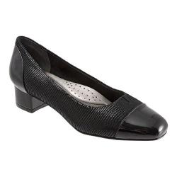 Women's Trotters Danelle Black Patent Suede Lizard Leather/Pearlized Patent