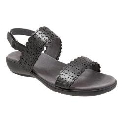 Women's Trotters Galle Quarter Strap Perforated Sandal Black Veg Calf Leather