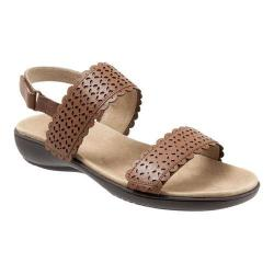 Women's Trotters Galle Quarter Strap Perforated Sandal Luggage Veg Calf Leather