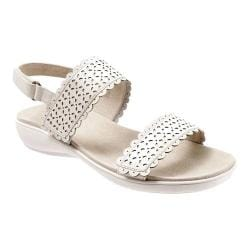 Women's Trotters Galle Quarter Strap Perforated Sandal Off White Veg Calf Leather